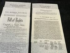 6-Great American Documents On Rice Paper Bill Of Rights, The Monroe,and More..