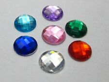 200 Mixed Color Acrylic Round Flatback Rhinestone Gems 10mm No Hole