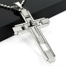 Unisex Men's Women Boy Silver Stainless Steel Cross Pendant Necklace With Chain