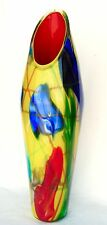 "VIVID Large Glass Vase Red Interior - YELLOW Green Blue 24"" Decorative Art Gift"