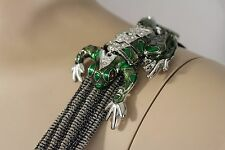 Women Silver Metal Shoulder Pin Body Jewelry Animal Green Frog Broach Toad Charm