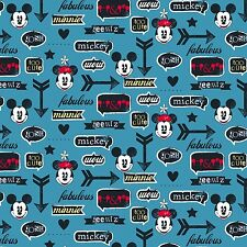 "1 yard Disney ""Mickey and Minnie With Icons"" Fabric"