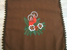 Vintage Christmas Xmas Embroidered brown Tablecloth Table runner