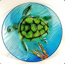 Sea Turtle Art Glass Plate Hand Painted Home Decor