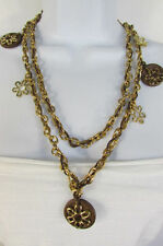 New Women Necklace Fashion Gold Metal Chains Flowers Round Brown Wood Charms