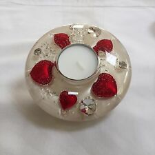 HAND MADE GLASS CANDLE HOLDER WITH FLORAL DESIGN (Mini) Red heart