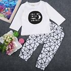 Toddler Baby Boy Girls Fashion Long Sleeve T-shirt+Pants Outfit Set Clothes 0-3Y