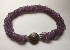Hallmarked Sterling Silver 8 Strand Faceted Amethyst Beads Collar Necklace QVC