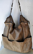COUNTRY ROAD 2 Tone Taupe Leather Hobo Cross-body/Shoulder Bag Dual Straps Rare!