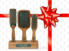 Bio Ionic Agave Healing Oil Natural Bamboo Hair Brushes - SET 3 Brushes (Paddle,