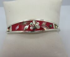 Sterling Silver Red bangle bracelet 925 6.75 inche