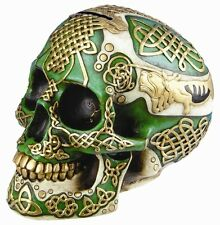 "HALLOWEEN DECOR CELTIC GREEN LION SKULL MONEY SAVING BANK FIGURINE STATUE 7.25""L"