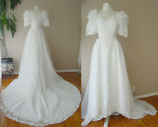 VINTAGE SHEER LACE PEARL LONG TRAIN OFF WHITE WEDDING DRESS GOWN FORMAL TIARA