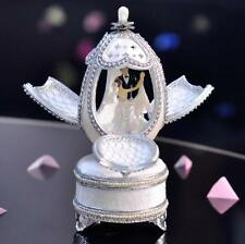 Silver Music Box Hand made Real Goose Egg with White Cameo Bejeweled Keepsake