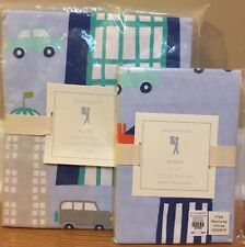 NEW Pottery Barn Kids Aiden Printed City TWIN Duvet + Sham BLUE