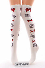 So-44 weiß white Schleife Bow Brief Lolita Socken Overknees Strümpfe Stockings