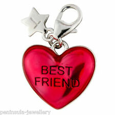 Sterling Silver clip on Charm Tingle Best Friend Heart with Gift Bag and Box