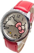 Kids Girls Hello Kitty Red Wrist Watch Analog Leather Strap Steel Back