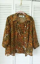 Selena Sport size 1X button down  attached shell, green orange leopard print top