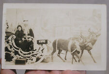 Christmas RPPC Santa Claus Girl in Sleigh and Two Reindeer Dept. Store 1930s