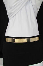 "Women hip high waist extra wide gold metal mirror plate fashion belt 26""-40"" S M"