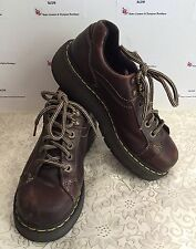 AUTH Doc Martens 9861 Wom 8 Sturdy Brn Leather Walking Hiking Ankle Boots Gel