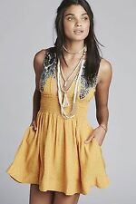 "NWT $108 Free People ""Walking Through My Dreams"" Dress in Goldensun Combo LARGE"