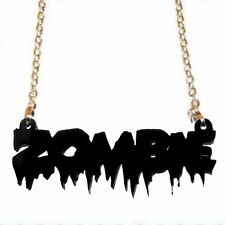 BLACK ZOMBIE NECKLACE ~ The Walking Dead~Halloween Goth Horror~Laser Cut Acrylic