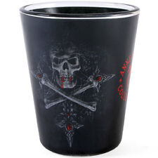GOTHIC SKULL & CROSSBONES SHOT GLASS IN COFFIN SHAPED GIFT BOX