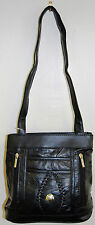 Real Leather Ladies Patch Handbag Shoulder Bag Black LT607-BK