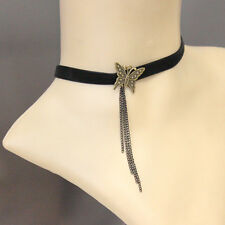 Butterfly Tassel Vintage Victorian Gothic Velvet Ribbon Choker Lace Necklace