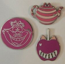 3 CHESHIRE CAT DISNEY TRADING PIN LOT Tradable Lapel Pins alice in wonderland