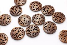 Chinese Filigree Flower Wood Button Coat Large Brown Wooden Floral 25mm 20pcs