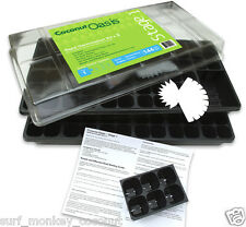 Seed Germination Kit Complete, Set of Two: Starter Trays Drip Pans Dome & Labels