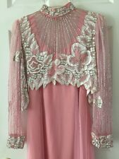 Stunning Hand Crafted Pink Evening Gown with Beaded Jacket One Of A Kind!