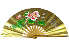 33cm Chinese Tai Chi / Kung Fu / WuShu Left / Right Fan 5 Colours Peony Hand Fan