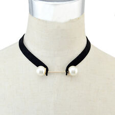 Korean Style Handmade Leather Chain Pearl Choker Necklaces For Women Jewelry