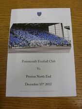15/12/2012 Portsmouth v Preston North End - Chimes Matchday Menu, Colour Four Pa