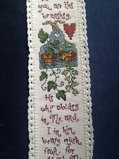 completed cross stitch ornament with crochet border I am the vine bible Jesus