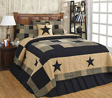 "3 Piece KING ""JAMESTOWN"" BLACK & TAN Quilted Bedding SET ~ Country, Primitive"