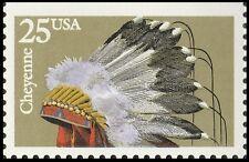 US 2502 American Indian Headdresses Cheyenne 25c single MNH 1990
