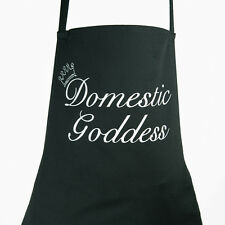 Domestic Goddess Diamante Crown Black Apron Rhinestone crystal Bling Sparkle