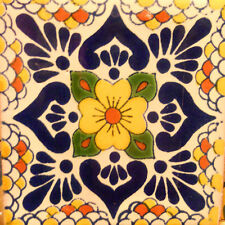 9 MEXICAN TILES WALL OR FLOOR USE TALAVERA MEXICO CERAMIC HANDMADE POTTERY C#118
