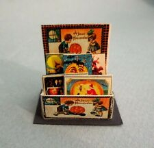 DOLLHOUSE MINIATURE ~HALLOWEEN~ VINTAGE GREETING CARDS ~ COUNTER DISPLAY ~ 1:12