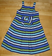 GYMBOREE FULL OF GLEE BLUE & GREEN STRIPED BOW DRESS GIRLS 7 SPRING SUMMER