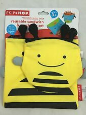 Skip Hop Zoo Yellow Bee Reusable Sandwich and Snack Bag Set