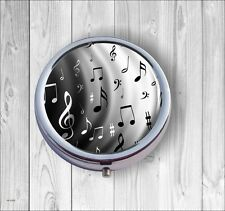 MUSIC BLACK AND WHITE NOTES PILL BOX -dsd3Z