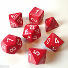 Chessex Dice Poly - Opaque Red with White -Set Of 7- 25404 - Free Bag! DnD