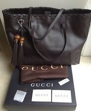 GUCCI Tote Bag NEW RRP £ 950 marrone grande in pelle vera
