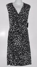 Attention Woman Sleeveless Semi Wrap Draped Dress Black & Ivory XL NWT